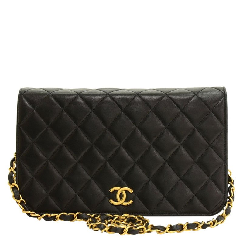 Buy Chanel Black Quilted Lambskin Classic Full Flap Bag 85715 at ... 819fddd6d
