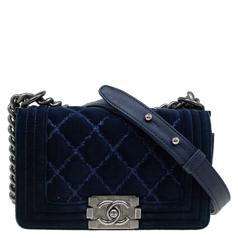 8a5afedc6e04 ... Chanel Dark Blue Quilted Velvet Small Boy Flap Bag. nextprev. prevnext