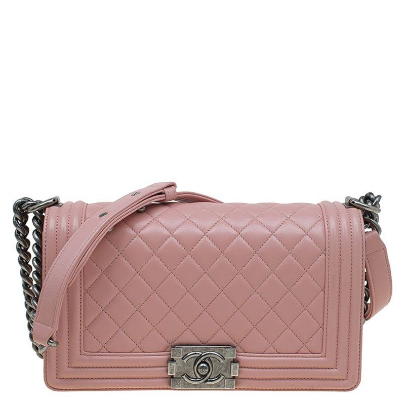 e2754e2cdd7c Chanel Blush Pink Quilted Leather Medium Boy Flap Bag 88347 At