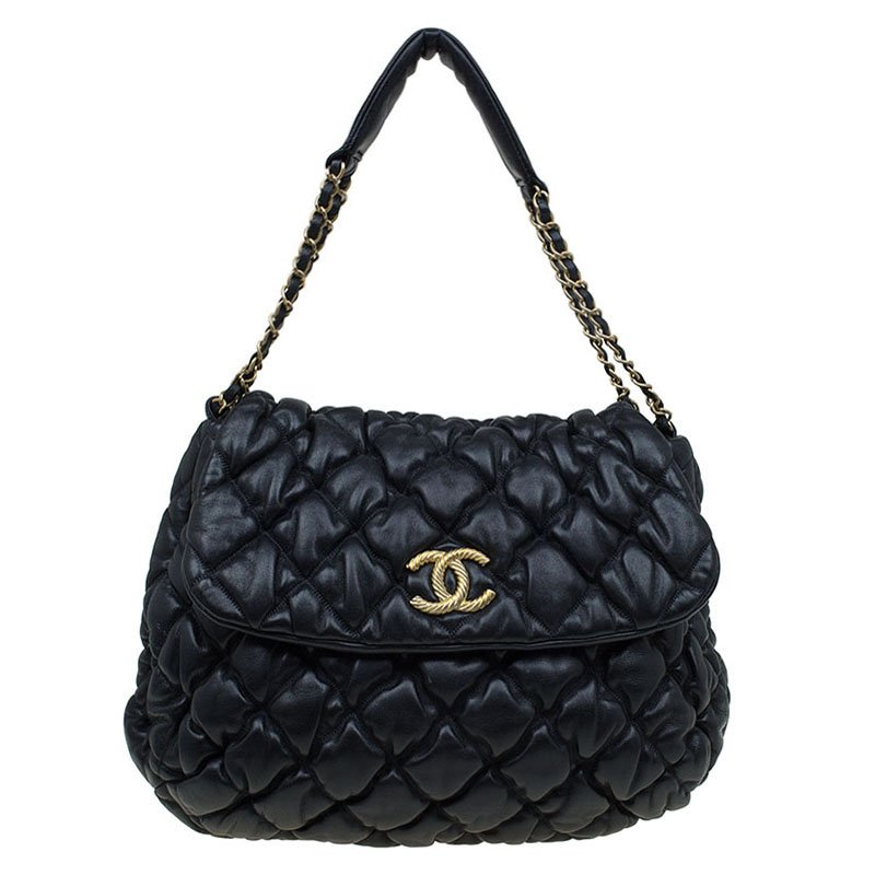 9788e75e48a7 Buy Chanel Black Bubble Quilted Leather Flap Bag 89680 at best price ...