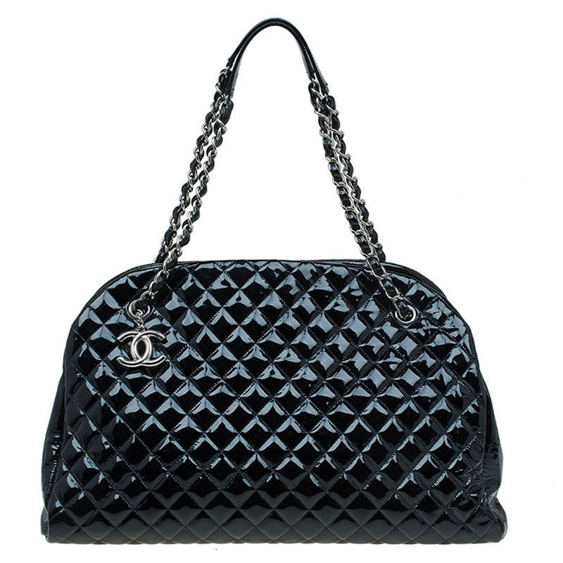de5f45c1b9ec88 ... Chanel Black Quilted Patent Leather Large Just Mademoiselle Bowling Bag.  nextprev. prevnext