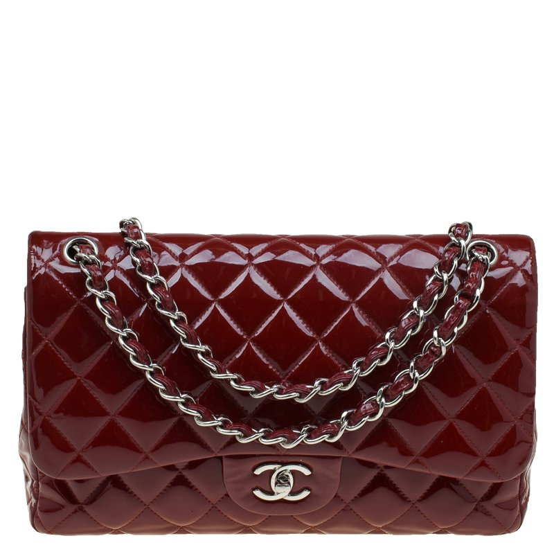 2e1d65e14325 ... Bag Nextprev Prevnext. Chanel Burgundy Quilted Patent Leather Jumbo  Clic Double Flap