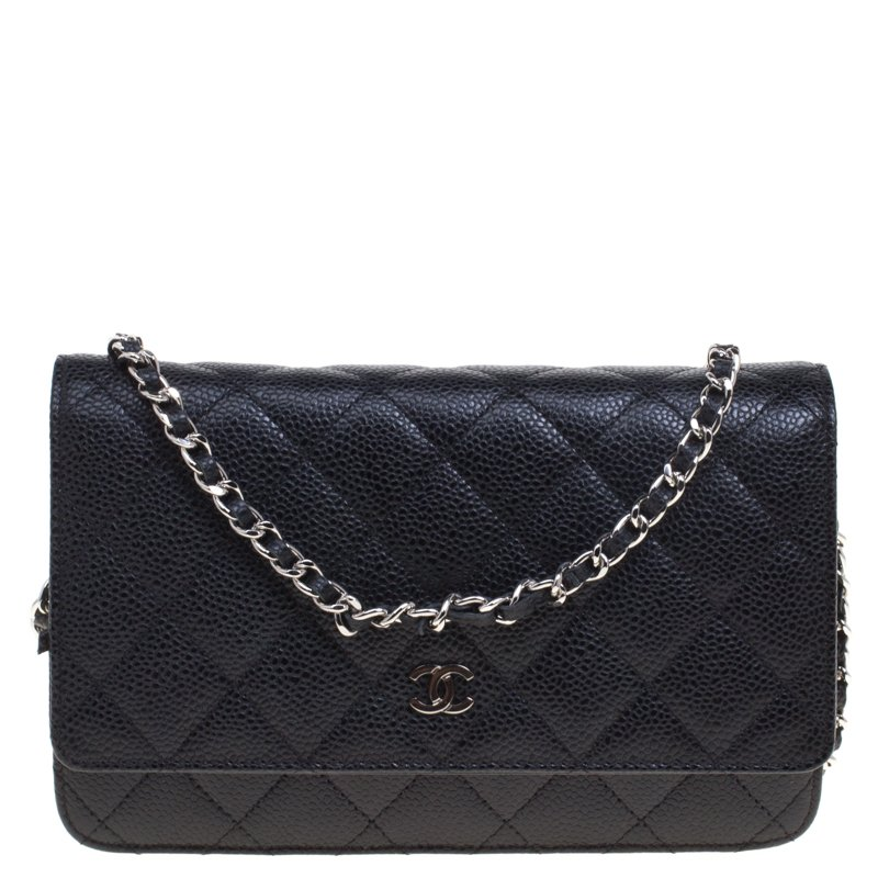 892ed3ffe818b1 Chanel Black Quilted Caviar Leather Woc Clutch Bag 91863 At Best