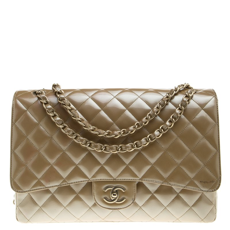08e0ccb26484 ... Chanel Beige Quilted Patent Leather Maxi Classic Single Flap Bag.  nextprev. prevnext