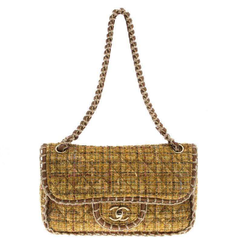 254d395fa88552 Buy Chanel Yellow Quilted Tweed and Leather Medium Classic Single ...