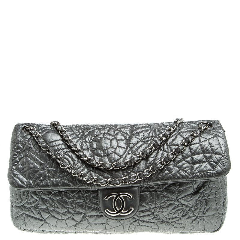 3492724f2b30 Buy Chanel Grey Embossed Patent Leather Flap Bag 93562 at best price ...