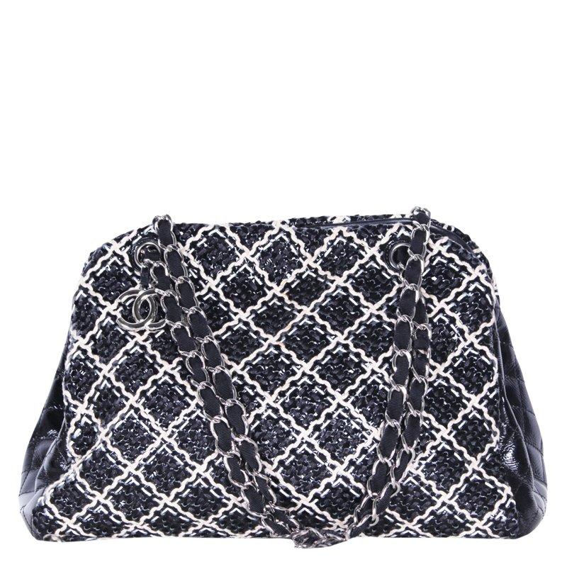 1775c6046dee29 ... Chanel Bi Color Patent Leather Weaved Just Mademoiselle Bowler Bag.  nextprev. prevnext