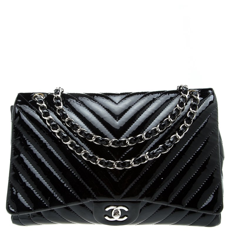 663edac3226c99 Buy Chanel Black Chevron Patent Leather Maxi Classic Flap Bag 94686 ...