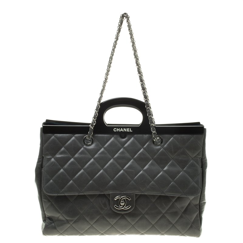 3cccb303ec69 ... Chanel Grey Quilted Crinkled Leather Large CC Delivery Tote. nextprev.  prevnext