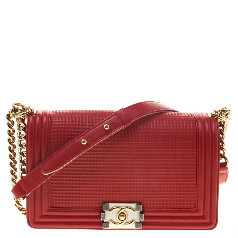 7d39daf53d9dd2 Buy Chanel Red Cube Embossed Leather Medium Boy Bag 95978 at best ...