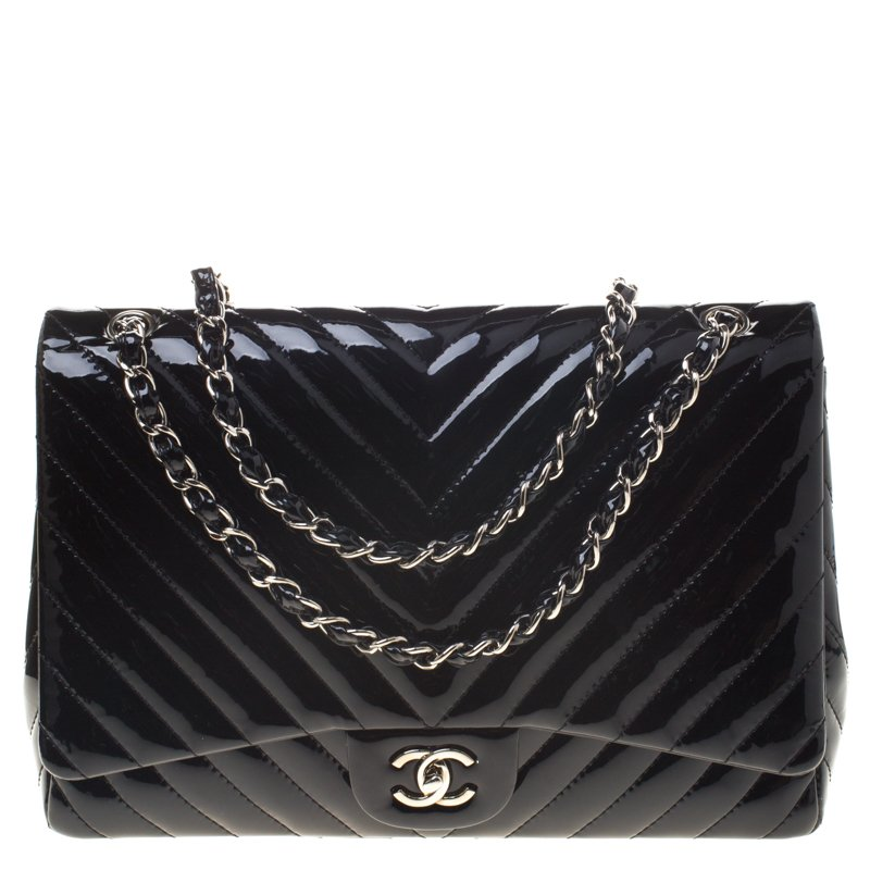 4b1feaa4ae82 ... Chanel Black Chevron Patent Leather Classic Single Flap Bag. nextprev.  prevnext