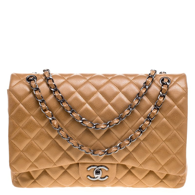 ece3aed45286 ... Chanel Caramel Quilted Caviar Leather Maxi Classic Double Flap Bag.  nextprev. prevnext