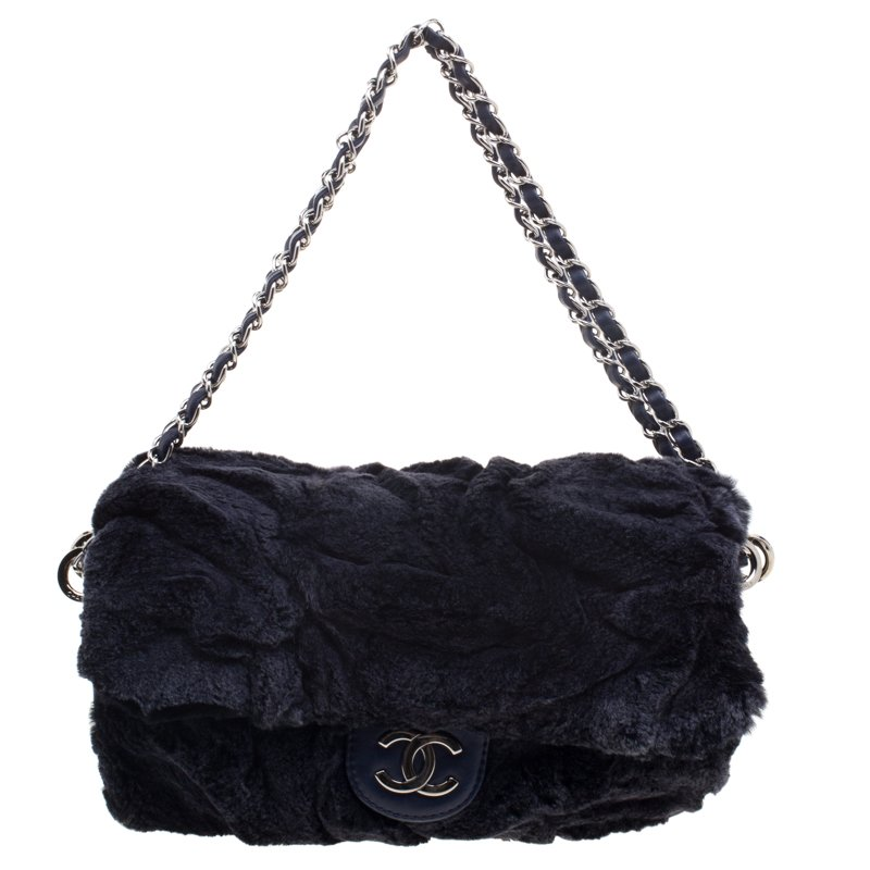 a7a16851eb27 Buy Chanel Navy Blue Rabbit Fur and Leather Classic Single Flap Bag ...