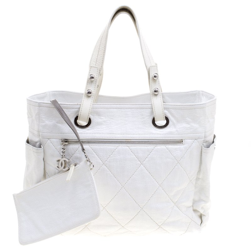 dd76103d7c Chanel White Quilted Coated Canvas Large Paris Biarritz Tote