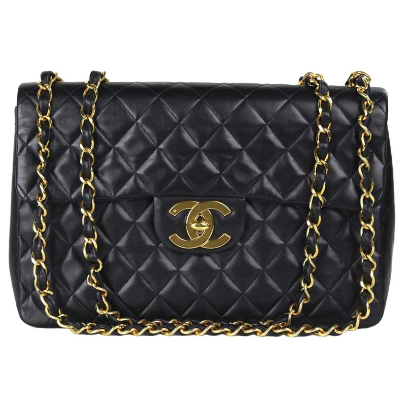 989e3b209787bf ... Chanel Black Quilted Lambskin Maxi Jumbo Vintage Classic Flap Bag.  nextprev. prevnext