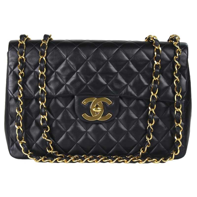 b574e53afba2b4 ... Chanel Black Quilted Lambskin Maxi Jumbo Vintage Classic Flap Bag.  nextprev. prevnext