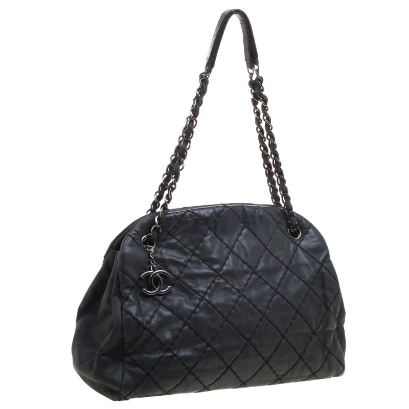 Chanel Black Quilted Iridescent Leather Just Mademoie Bowling Bag
