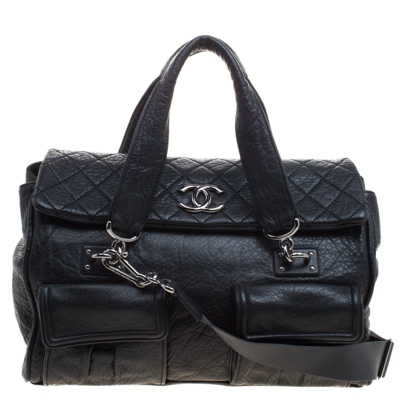 04c81e8745be Chanel Black Quilted Soft Leather Cc Bowler Bag 99227 At Best