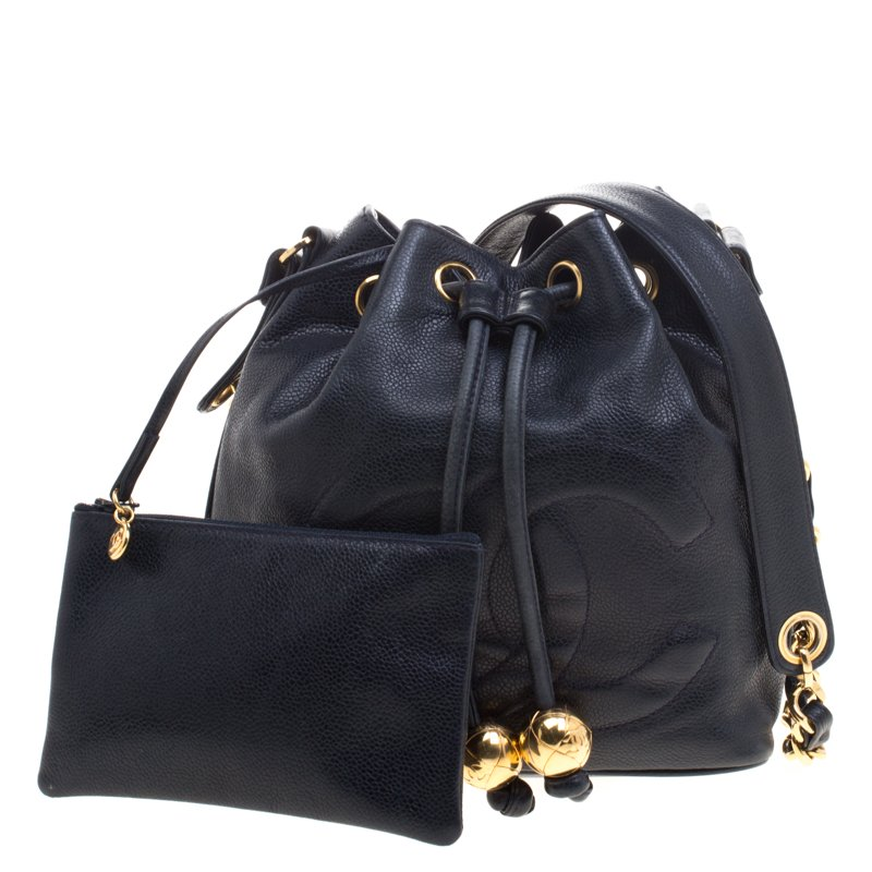 a2ac9131be19 ... Chanel Black Caviar Leather Vintage CC Drawstring Bucket Bag. nextprev.  prevnext