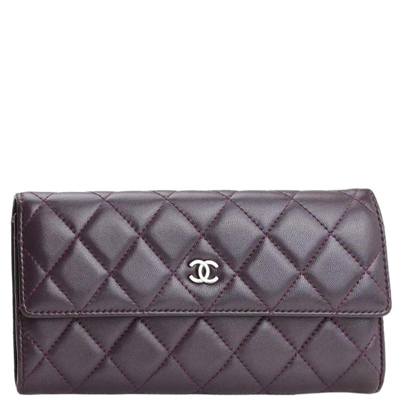 ad023eab Chanel Purple Quilted Leather CC Continental Wallet