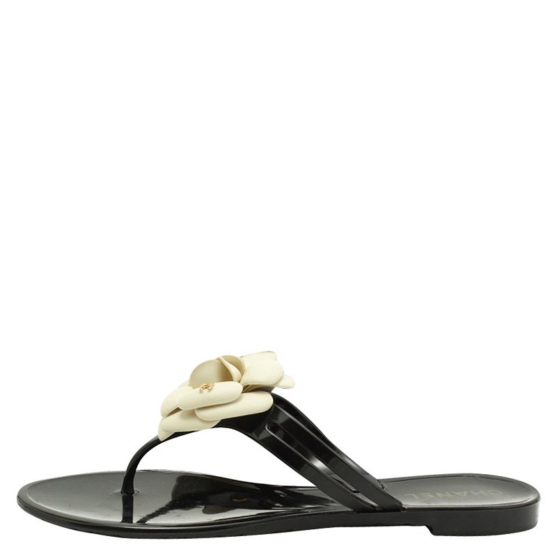 6aa41495 Chanel Black and White Jelly Camellia Thong Sandals Size 38