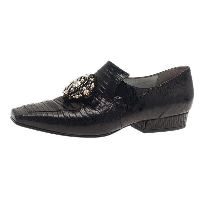 Chanel Black Leather Embellished Loafers Size 38