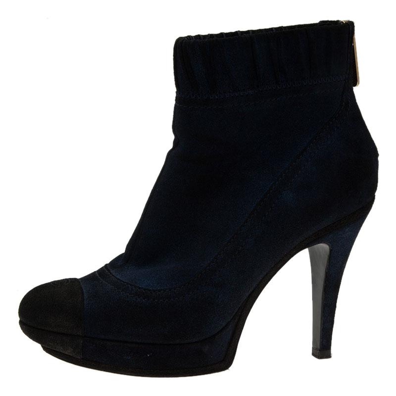 00a09736d4757 ... Chanel Navy Blue Suede CC Cap Toe Ankle Boots Size 39. nextprev.  prevnext
