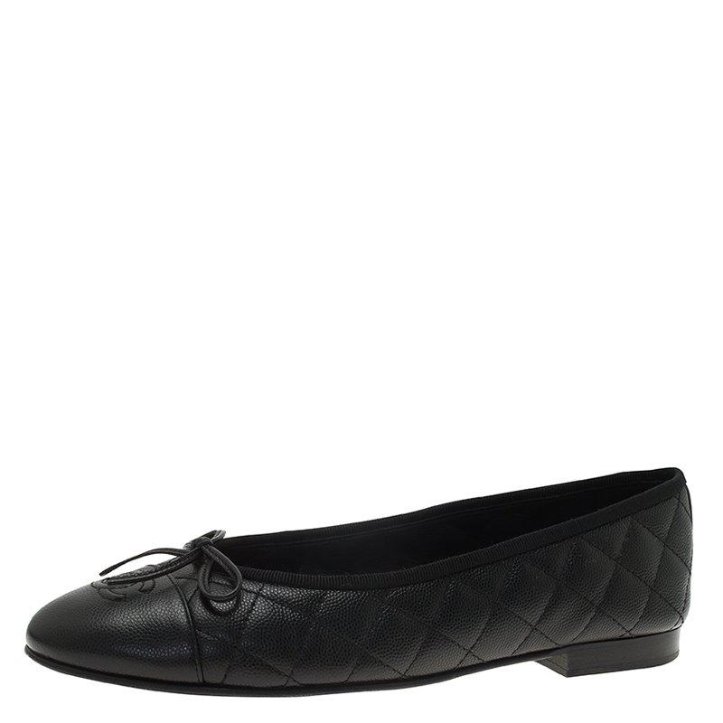 ... Chanel Black Quilted Caviar Leather CC Bow Ballet Flats Size 39.5.  nextprev. prevnext 0b44b2d84f48a