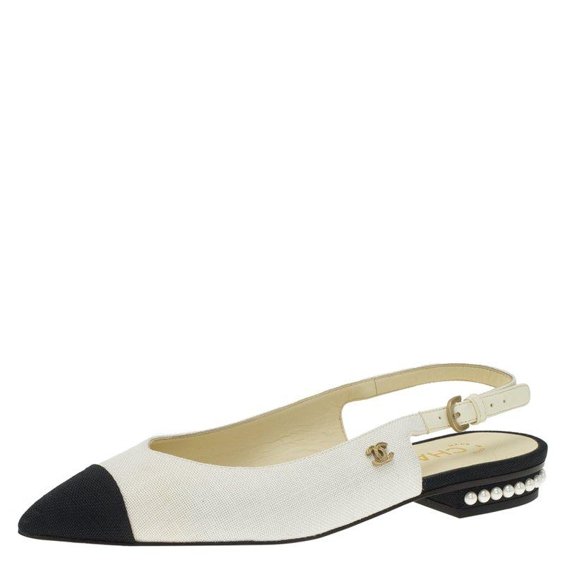 5e90e8e8949c Buy Chanel Two Tone Canvas Pearl Detail Flat Slingback Sandals Size ...