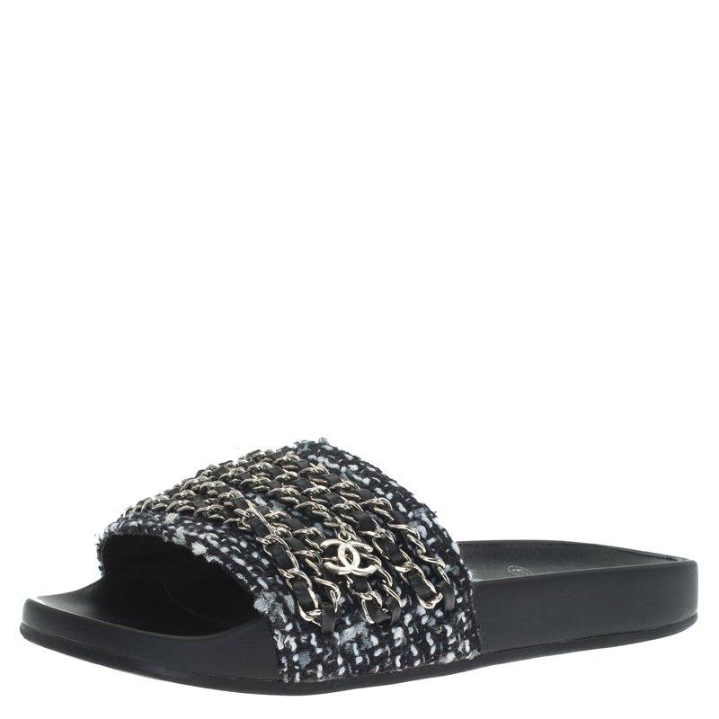 718a1a522e3a ... Chanel Black Tweed Tropiconic Chain Detail Slides Sandals Size 39.  nextprev. prevnext