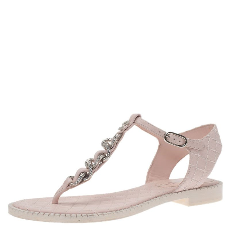 Chanel Powder Pink Leather Chain Detail CC Thong Sandals Size 37.5