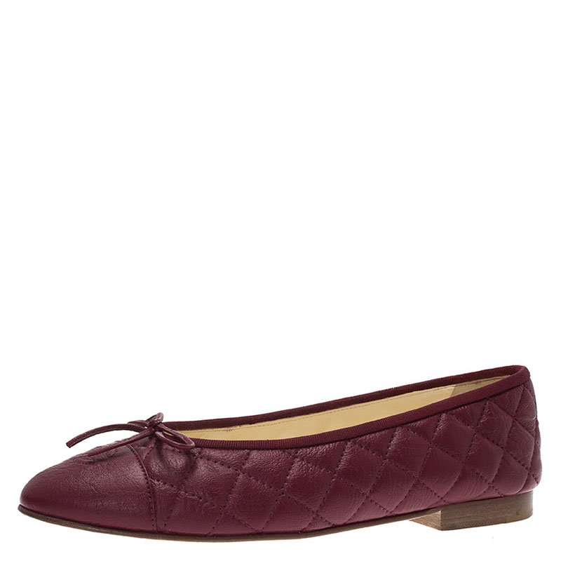 64ced03235f96 ... Chanel Burgundy Quilted Leather CC Bow Ballet Flats Size 40. nextprev.  prevnext