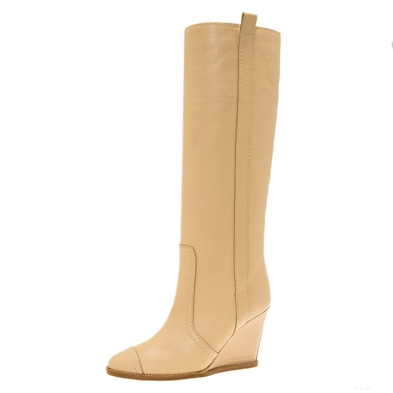 b7c13d86850 Buy Chanel Beige Leather Wedge Knee Boots Size 35 81332 at best ...