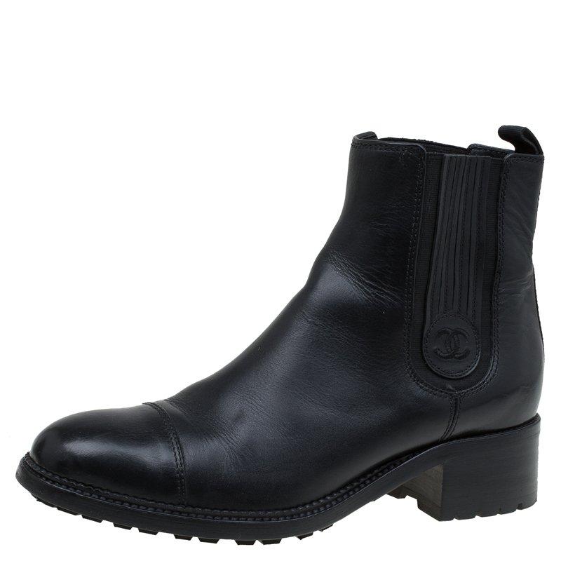 28a52d2d4d Chanel Black Leather Chelsea Ankle Boots Size 40