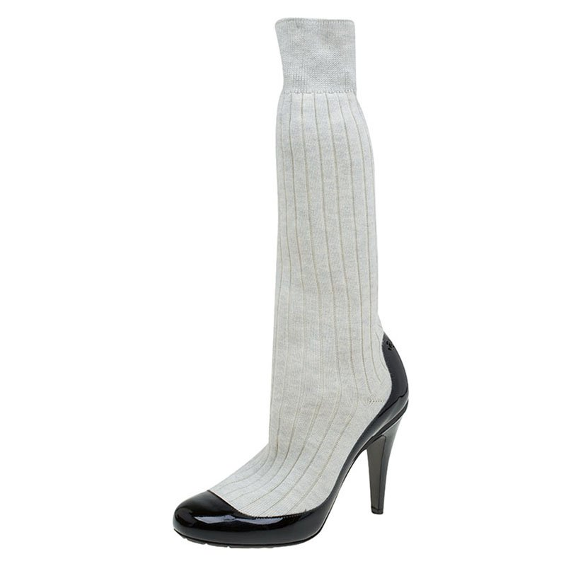 1b19fe8a743a ... Chanel Black Patent Leather and White Sock Knee Boots Size 37.  nextprev. prevnext