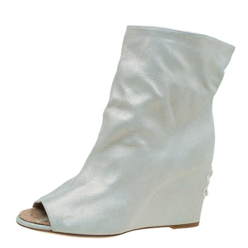 952ac265866 Buy Chanel Metallic Leather Peep Toe Wedge Ankle Boots Size 38 86677 ...