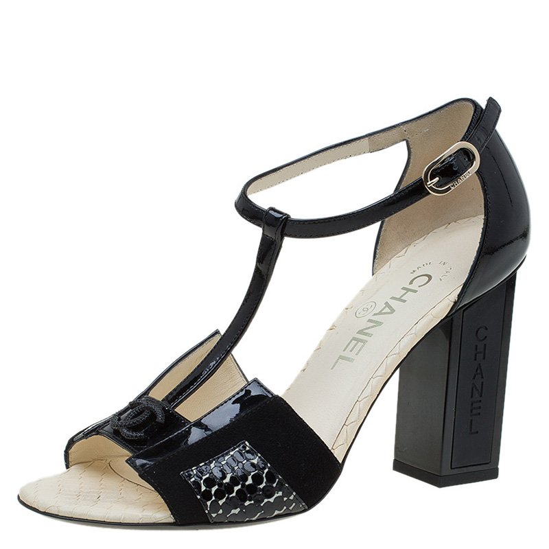 60de3b2f8c34 Buy Chanel Black Patent And Suede Block Heel T- Strap Sandals Size ...