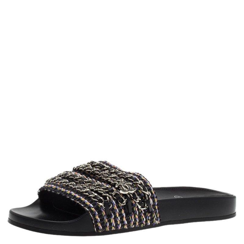 ae75004a05e9 Buy Chanel Black Tweed Tropiconic Chain Detail Slides Size 40 87953 ...