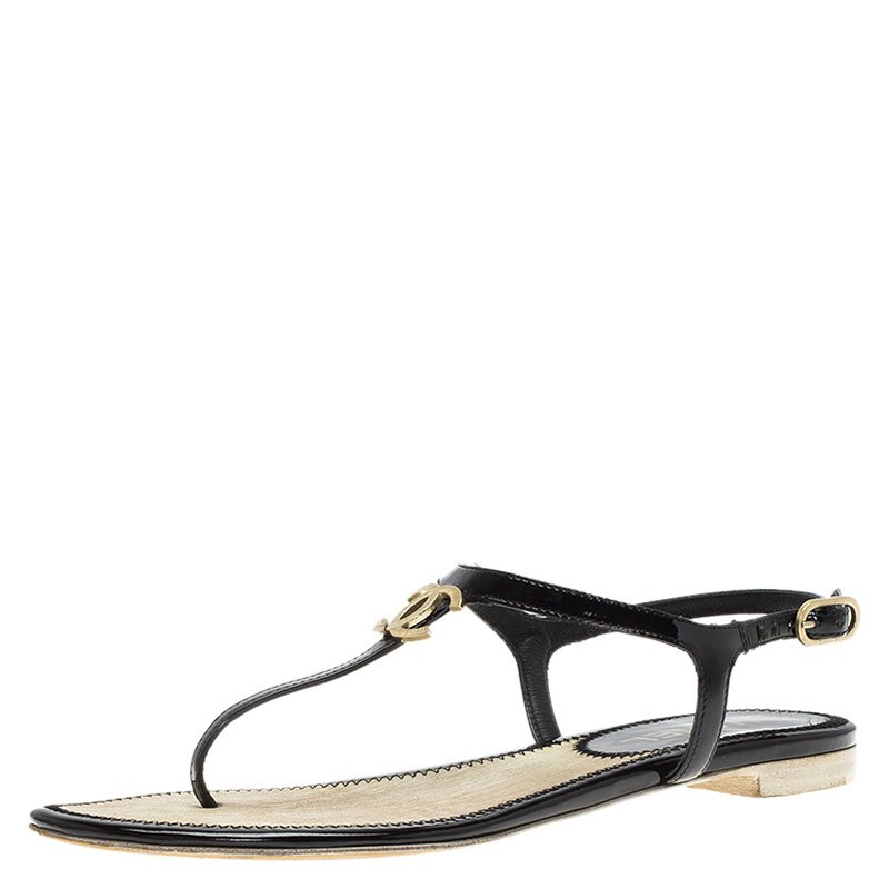 0bfb9929e ... Chanel Black Patent CC Logo T Strap Thong Sandals Size 36. nextprev.  prevnext