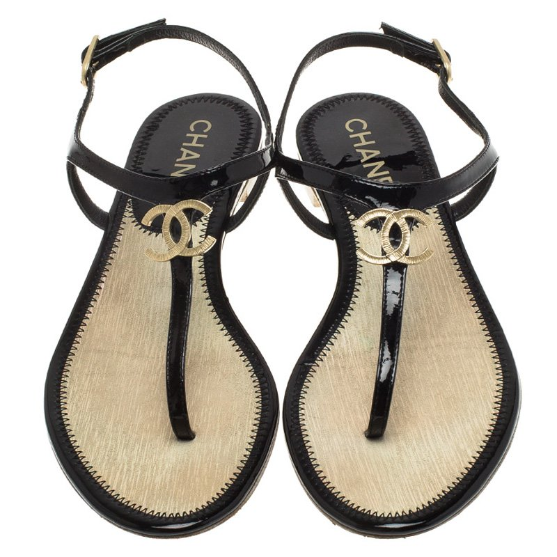 T Strap Thong Sandals Size 36 Chanel