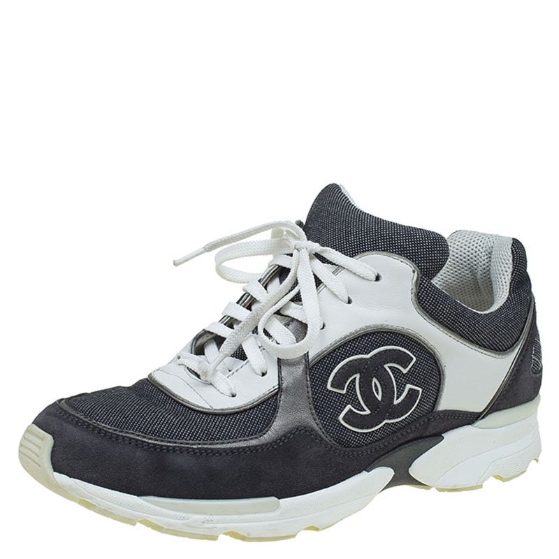 Suede CC Logo Lace Up Sneakers Size 39