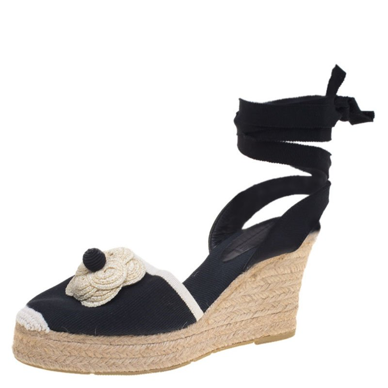 675a180e6f8 Buy Chanel Black Canvas Camellia Ankle Wrap Espadrille Wedges Size ...