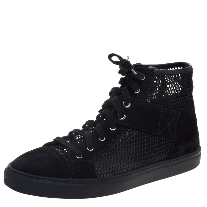 ccb9779a2d7a Buy Chanel Black Suede and Mesh High Top Sneakers Size 38 97156 at best  price