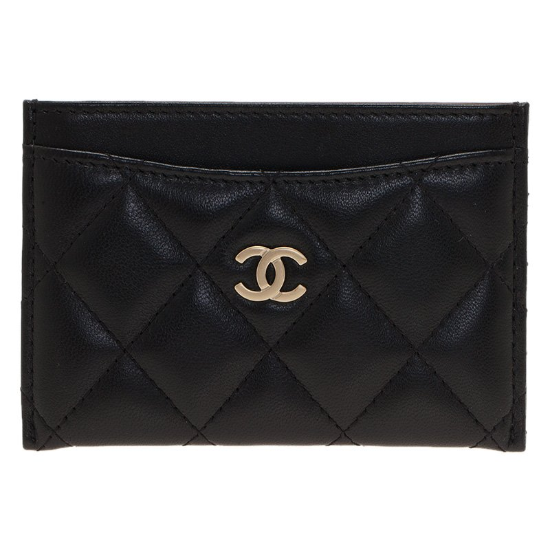 4c352217ea7054 Buy Chanel Black Quilted Lambskin Classic Card Holder 48304 at best ...