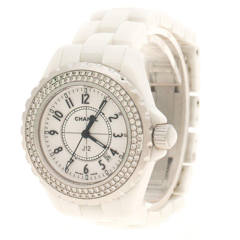 74c497bcf إشتري ساعة يد نسائية شانيل J12 ألماس وسيراميك بيضاء 34 مم 108144 ...