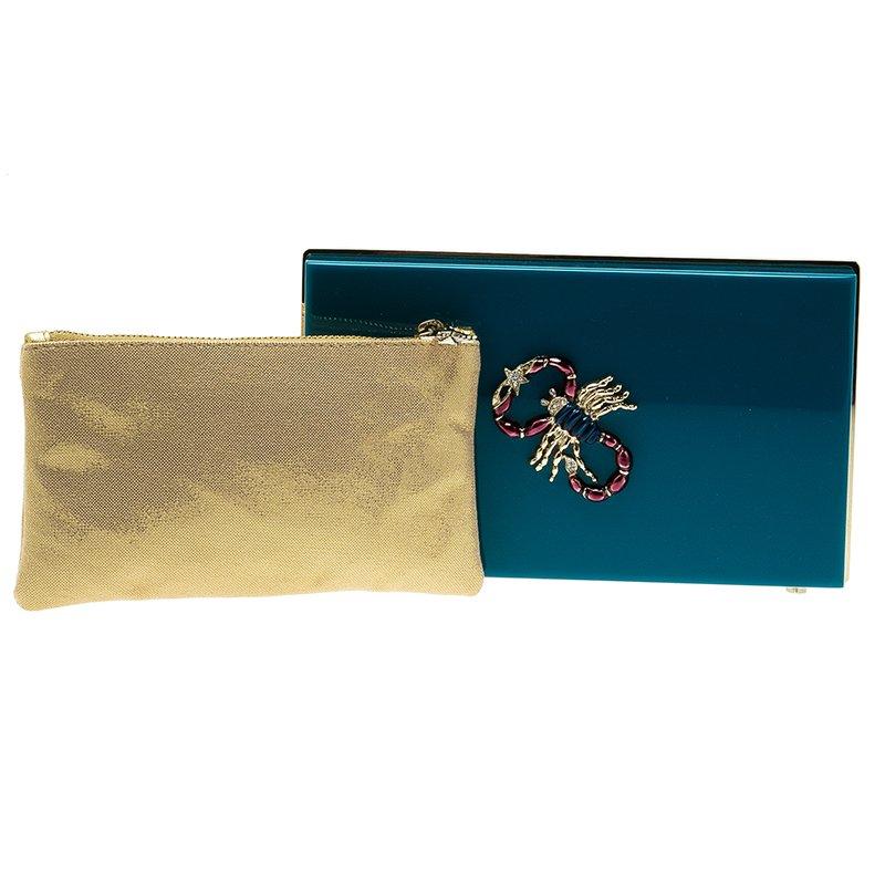 Charlotte Olympia Teal Perspex Scorpio Zodiac Pandora Box Clutch