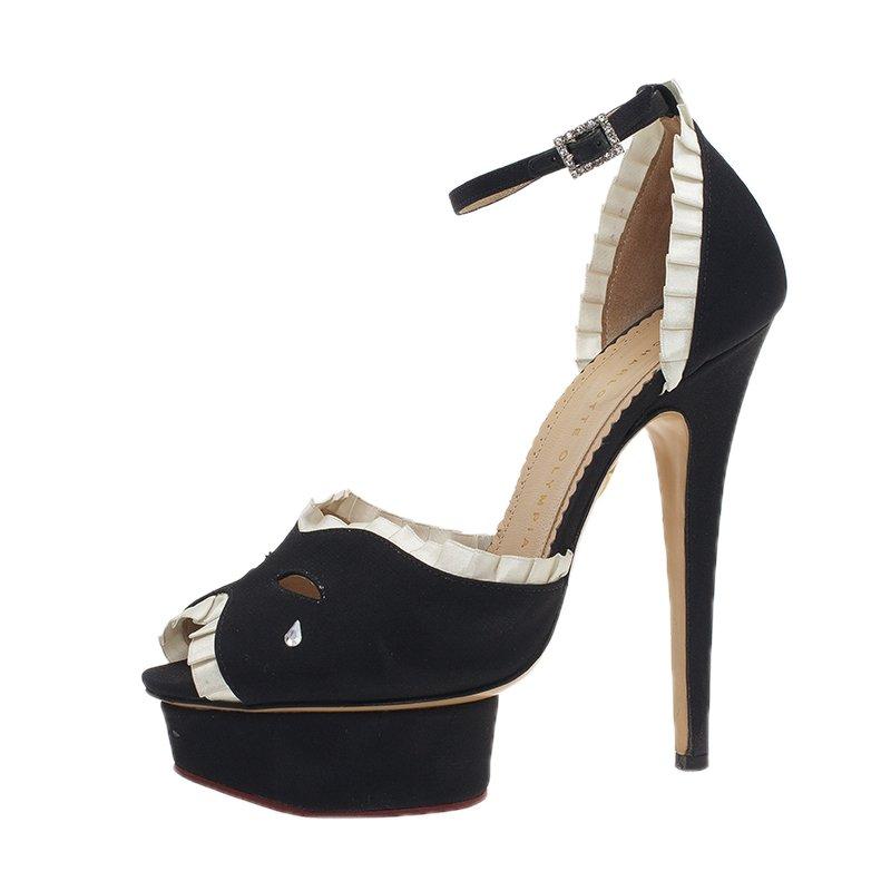 9f07f305c27d ... Charlotte Olympia Black Satin Masquerade Ankle Strap Platform Sandals  Size 38. nextprev. prevnext