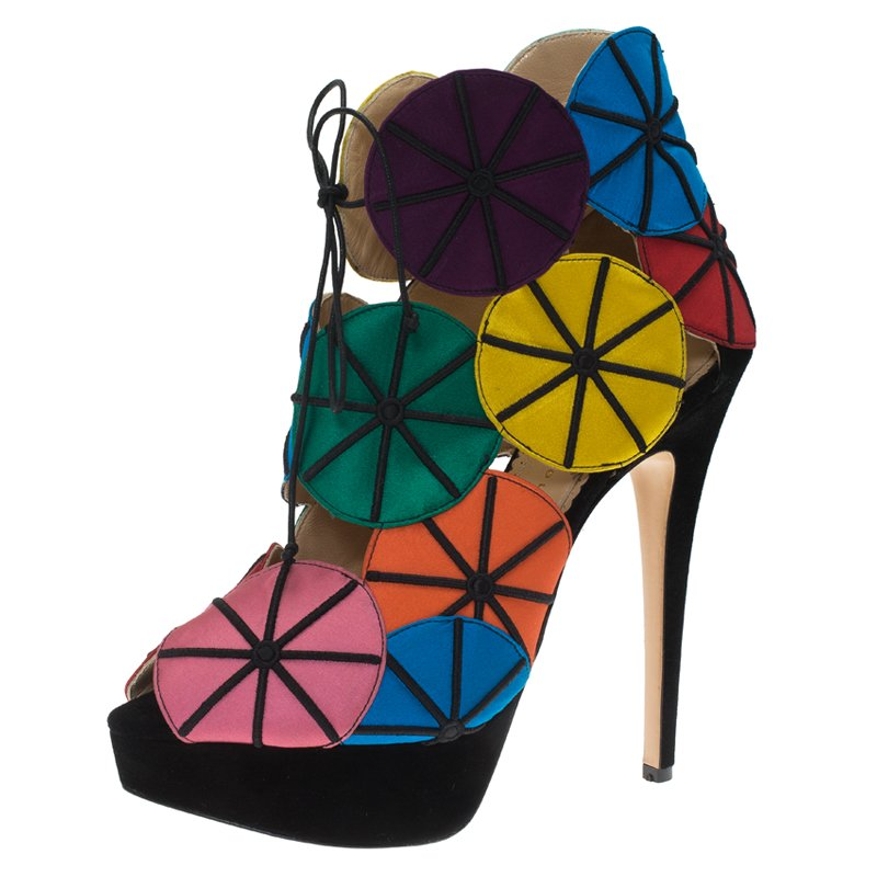 722f8696f Buy Charlotte Olympia Multicolor Satin Parasol Platform Sandals Size ...