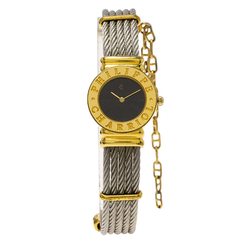 1294e9dbbd82f Buy Charriol Black Gold-Plated Stainless Steel St. Tropez Women s ...