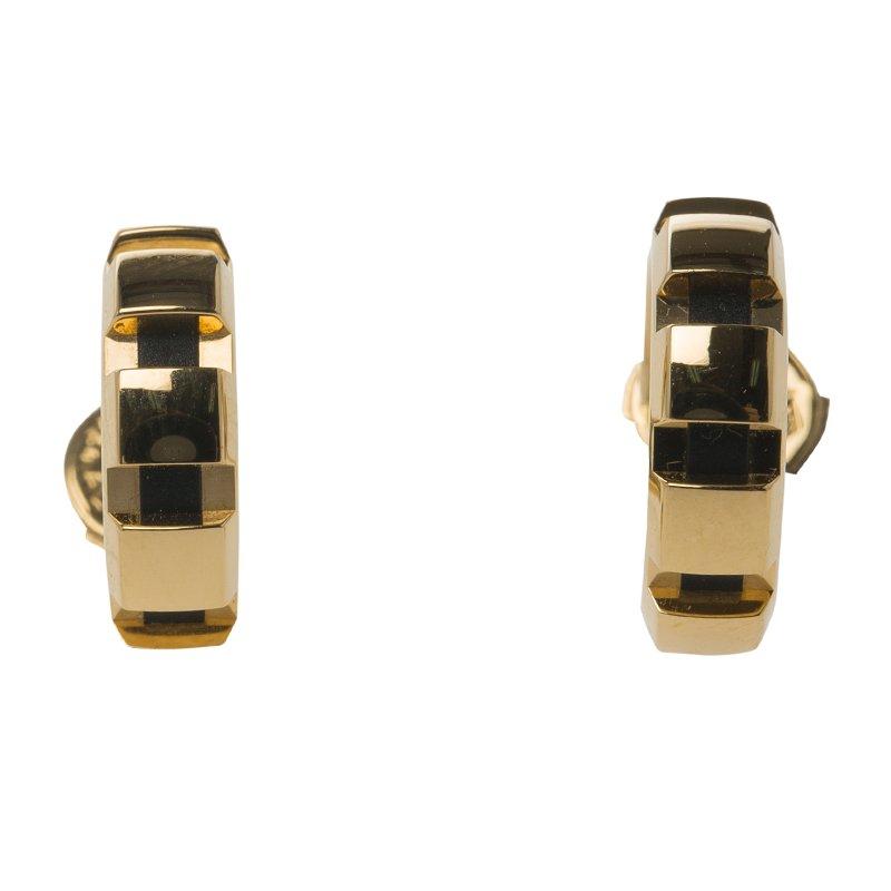 Chaumet 18K Yellow Gold & Black Insert Hoop Earrings